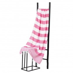 Hamamdoek, Roze Wit  gestript , 95 x 175cm Dun